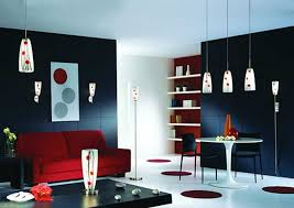 floor l with red shade classy contemporary living room design style comes with white