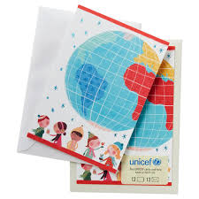 unicef watercolor world cards box of 12 boxed