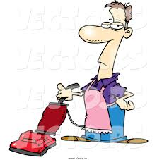 Vaccumming Vector Of A Cartoon White Stay At Home Dad Man Vacuuming By