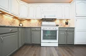 kitchen simple two tone painted kitchen cabinets interior design