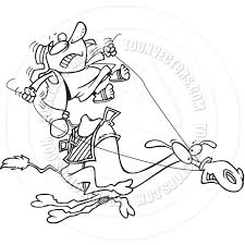 cartoon camel rider black and white line art by ron leishman