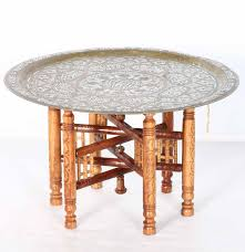 Brass Tray Table Brass Enameled Egyptian Tray Table Ebth