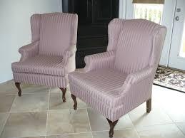 Linen Wingback Chair Design Ideas Grey Striped Linen Wingback Chair Slipcover With Curvy Brown