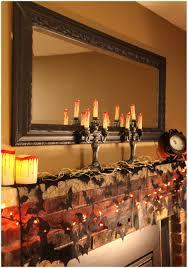 fireplace halloween interior decorating with black bat garland and
