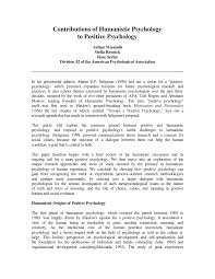 the humanistic psychology and positive psychology connection