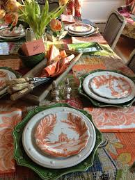 thanksgiving dinner plates dinnerware orange and green tablescape juliska pumpkin country estate party