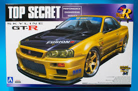nissan gtr model car aoshima1 24 nissan skyline r34 gtr top secret model kit review