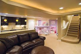 Basement Living Room Ideas Basement With Bar And Play Area Entertain In A Kid Friendly