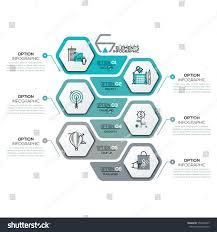 creative infographic design template 6 hexagonal stock vector