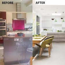 kitchen livingroom before and after from separate rooms to open plan kitchen