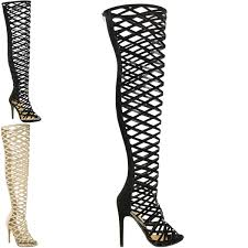 womens thigh high boots size 11 womens cut out the knee thigh high stiletto heels