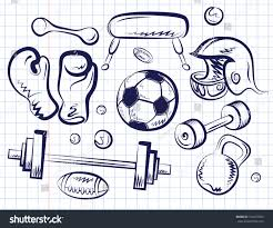 vector sketch set sports equipment on stock vector 154272566