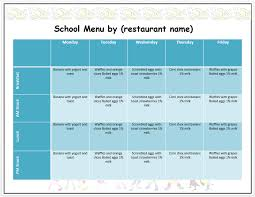 weekly menu templates free microsoft word menu templates free