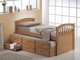Single Storage Beds Furniture White Wooden Bed Frame With Sorage Drawer And Tall Head