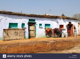 typical houses in an indian tribal village kalpi rajasthan india