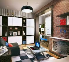 Bedroom Ideas Brick Wall Teens Bedroom Retro Boy Teenagers Bedroom Featuring Unfinished