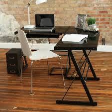 L Shaped Glass Desks Walker Edison L Shaped Glass Top Computer Desk In Silver Ebay