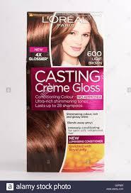 Light Brown Dye Loreal Light Brown Casting Creme Gloss Hair Dye Stock Photo