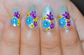 spring flower nail design fun colorful floral nails love for
