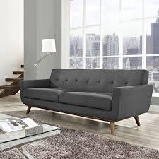 Designer Sofas For Living Room Furniture Baxton Studio Dakota Leather Modern Sofa Pewter Gray