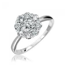 lotus flower engagement ring 14k white gold lotus flower diamond ring