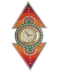 designer wall clock in clay and wood craft multi mdf grabkaro