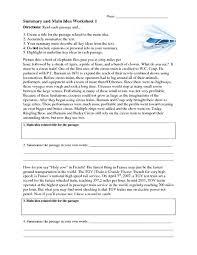 summary and main idea worksheet 1 4th 8th grade worksheet