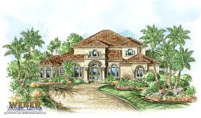 mediterranean house plan 2 story coastal home outdoor kitchen pool