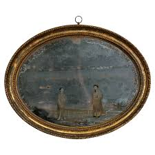 Oval Office Paintings by 18th Century Oval Chinese Export Mirror Painting At 1stdibs
