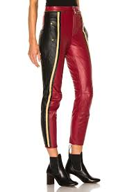 Chloe Leather U0026 Nubuck Biker Pants In Black U0026 Red Fwrd