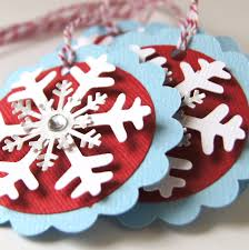 snowflake christmas tags or package labels white red u0026 silver