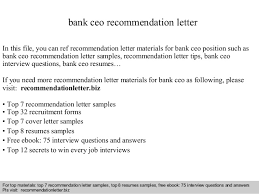 bank ceo recommendation letter