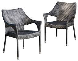 Outdoor Wicker Dining Chair Orchard Outdoor Wicker Dining Chairs With Cushions Set Of 2