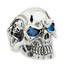 silver rings skull images Gothic sterling silver ring skull cz blue eyes titan mens biker jpg