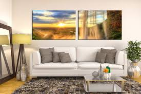 2 piece waterfall mountain artwork landscape huge pictures