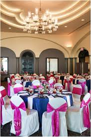 navy blue and pink wedding reception colors at the club at