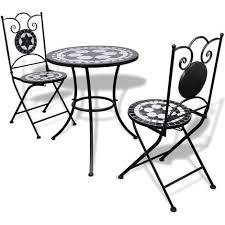 White Bistro Table Vidaxl Mosaic Bistro Table 60 Cm With 2 Chairs Black White