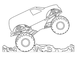 car tire monster trucks jumping colouring page colouring pics