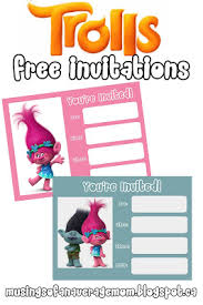 printable party invitations trolls free printable party invitations trolls