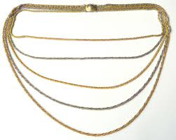 multi gold necklace images Vintage long multi stranded gold and silver rope chain necklace jpg