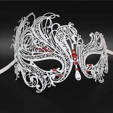 rhinestone mardi gras mask white phantom opera metal venetian masquerade mask swan