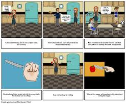 being safe in the kitchen with a knife storyboard
