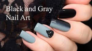 black and gray nail art youtube