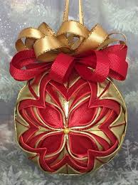 sided ribbon handmade no sew quilted ornament and gold i used sided