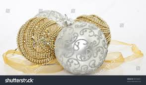 gold silver christmas ornaments christmas ornaments stock photo