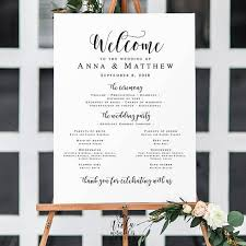 wedding program sign large wedding program sign wedding templates welcome wedding
