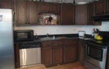 Mixed Wood Kitchen Cabinets L Shaped Dark Stained Oak Wood Kitchen Cabinet Which Mixed With