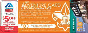 adventure card sale oc boy scouts