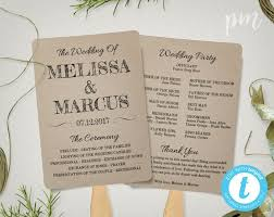 program fans for wedding ceremony rustic wedding program fan template fan wedding by printablemoment