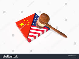 China Flags Broken Plate Us China Flags Gavel Stock Illustration 705993961